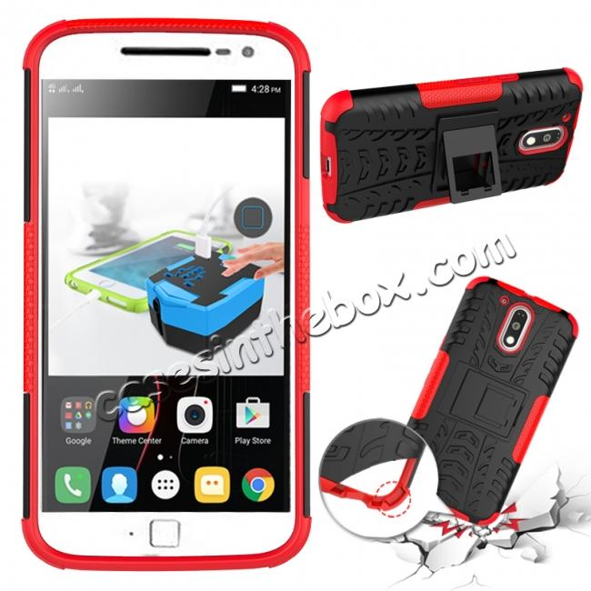 discount Shockproof Hybrid Dual Layer Protective Case Kickstand Cover for Motorola MOTO G4 Plus - Red