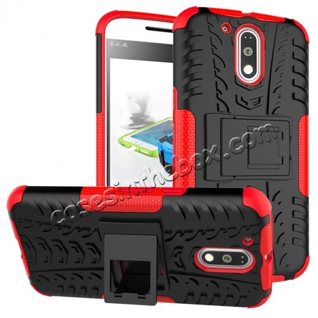 wholesale Shockproof Hybrid Dual Layer Protective Case Kickstand Cover for Motorola MOTO G4 Plus - Red