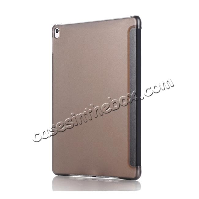 cheap Ultra-Slim Transparent Plastic And PU Leather Smart Cover for iPad Pro 9.7 inch  - Black