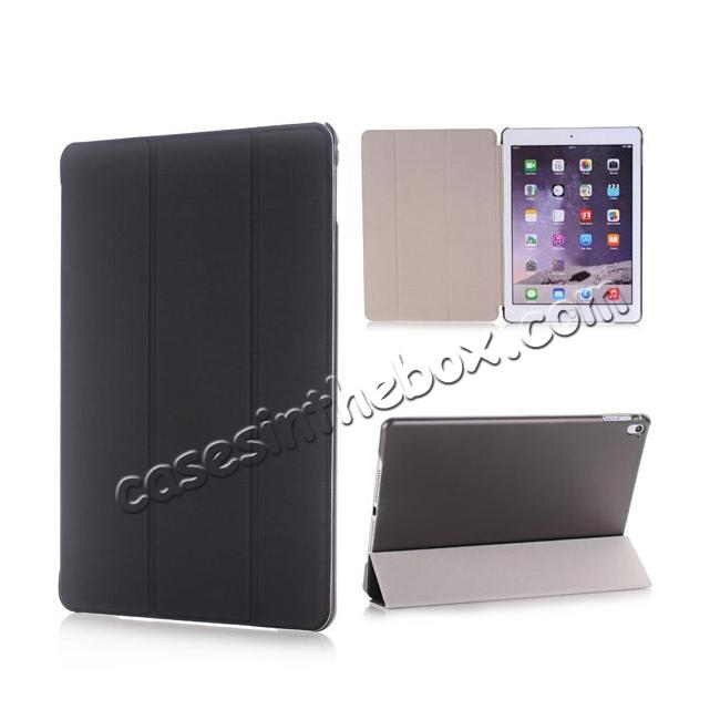 wholesale Ultra-Slim Transparent Plastic And PU Leather Smart Cover for iPad Pro 9.7 inch  - Black