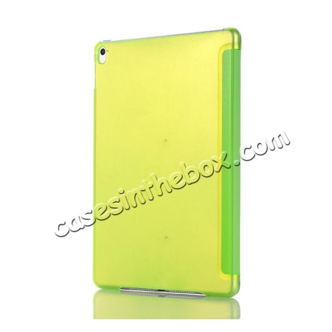cheap Ultra-Slim Transparent Plastic And PU Leather Smart Cover for iPad Pro 9.7 inch  - Green