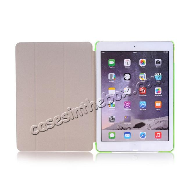top quality Ultra-Slim Transparent Plastic And PU Leather Smart Cover for iPad Pro 9.7 inch  - Green