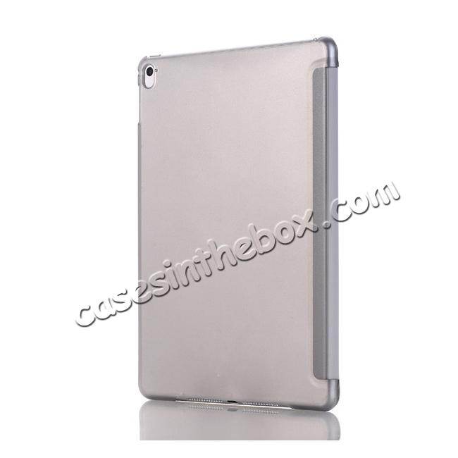 cheap Ultra-Slim Transparent Plastic And PU Leather Smart Cover for iPad Pro 9.7 inch  - Grey