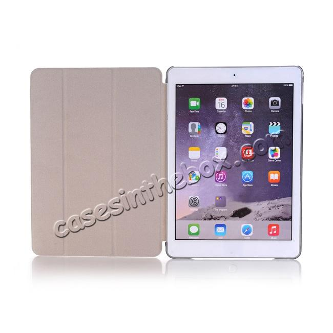 top quality Ultra-Slim Transparent Plastic And PU Leather Smart Cover for iPad Pro 9.7 inch  - Grey