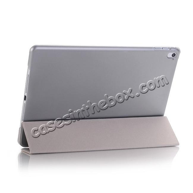best price Ultra-Slim Transparent Plastic And PU Leather Smart Cover for iPad Pro 9.7 inch  - Grey
