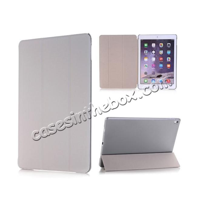 wholesale Ultra-Slim Transparent Plastic And PU Leather Smart Cover for iPad Pro 9.7 inch  - Grey