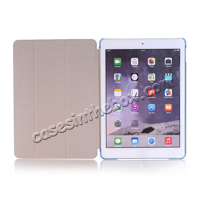 top quality Ultra-Slim Transparent Plastic And PU Leather Smart Cover for iPad Pro 9.7 inch  - Light Blue
