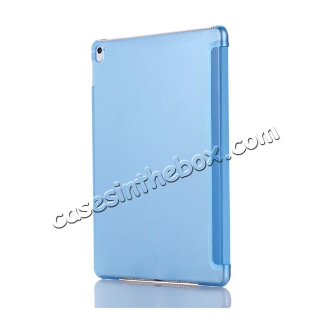 cheap Ultra-Slim Transparent Plastic And PU Leather Smart Cover for iPad Pro 9.7 inch  - Light Blue
