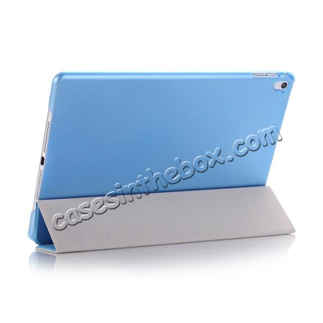 best price Ultra-Slim Transparent Plastic And PU Leather Smart Cover for iPad Pro 9.7 inch  - Light Blue