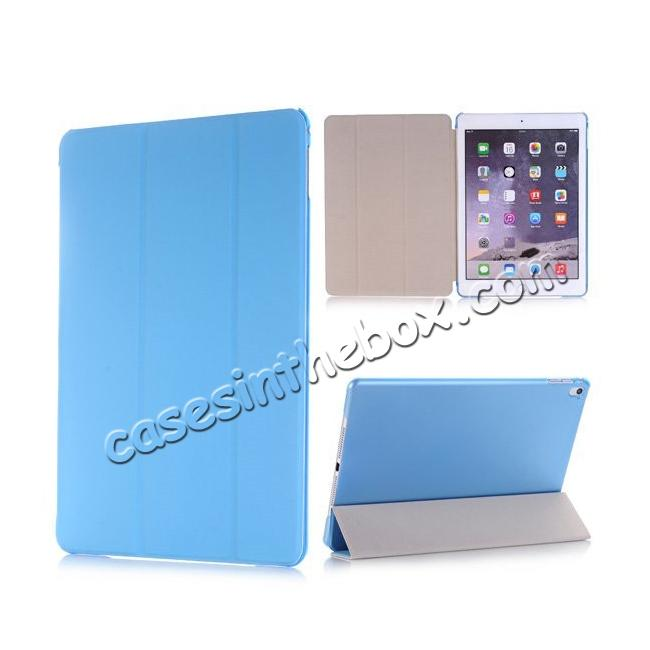 wholesale Ultra-Slim Transparent Plastic And PU Leather Smart Cover for iPad Pro 9.7 inch  - Light Blue