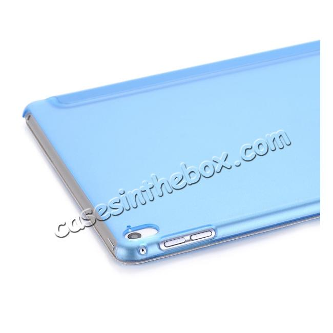 on sale Ultra-Slim Transparent Plastic And PU Leather Smart Cover for iPad Pro 9.7 inch  - Light Blue
