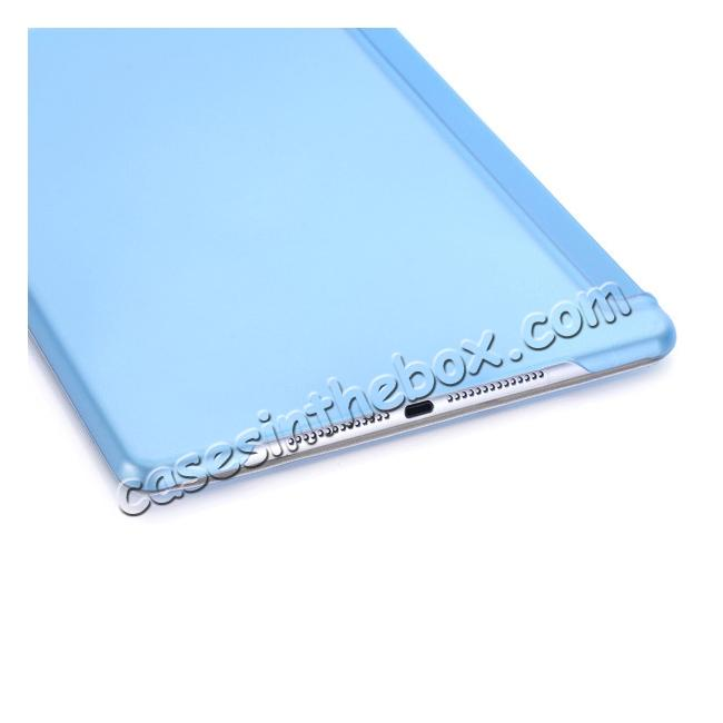low price Ultra-Slim Transparent Plastic And PU Leather Smart Cover for iPad Pro 9.7 inch  - Light Blue
