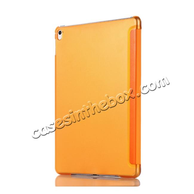 cheap Ultra-Slim Transparent Plastic And PU Leather Smart Cover for iPad Pro 9.7 inch  - Orange