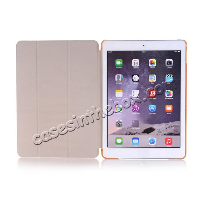 top quality Ultra-Slim Transparent Plastic And PU Leather Smart Cover for iPad Pro 9.7 inch  - Orange