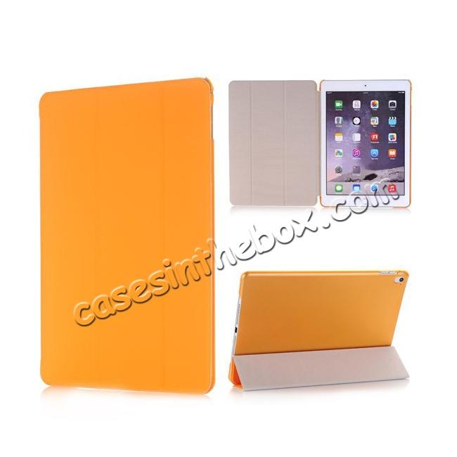 wholesale Ultra-Slim Transparent Plastic And PU Leather Smart Cover for iPad Pro 9.7 inch  - Orange