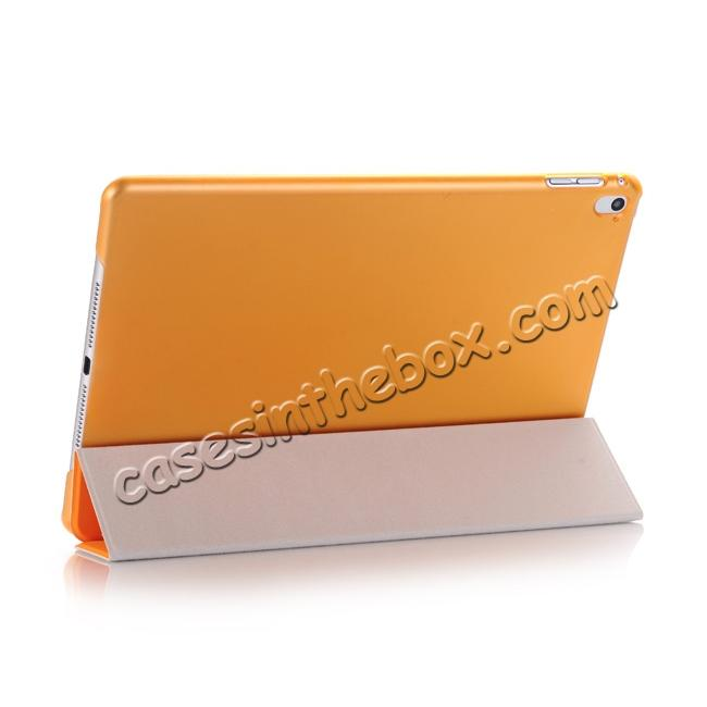 best price Ultra-Slim Transparent Plastic And PU Leather Smart Cover for iPad Pro 9.7 inch  - Orange