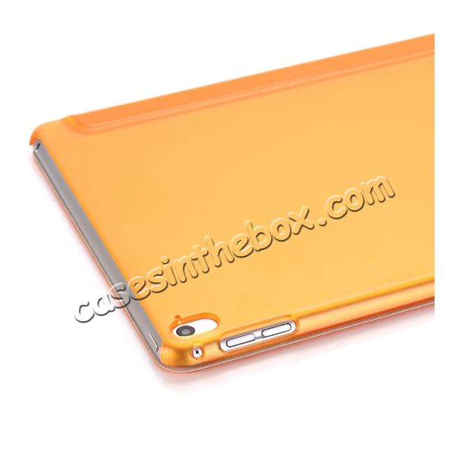 on sale Ultra-Slim Transparent Plastic And PU Leather Smart Cover for iPad Pro 9.7 inch  - Orange