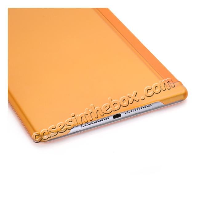 low price Ultra-Slim Transparent Plastic And PU Leather Smart Cover for iPad Pro 9.7 inch  - Orange