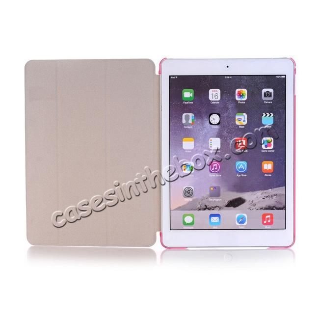 top quality Ultra-Slim Transparent Plastic And PU Leather Smart Cover for iPad Pro 9.7 inch  - Pink