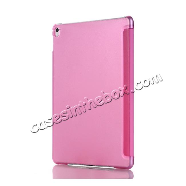 cheap Ultra-Slim Transparent Plastic And PU Leather Smart Cover for iPad Pro 9.7 inch  - Pink