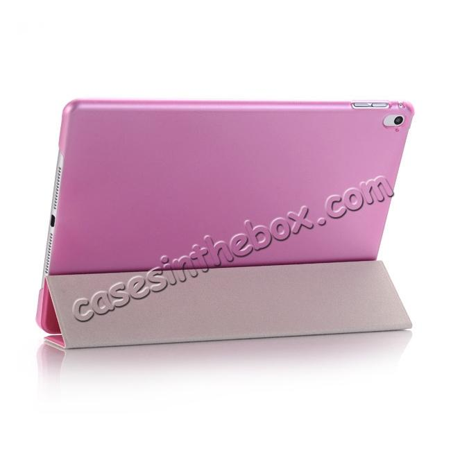 best price Ultra-Slim Transparent Plastic And PU Leather Smart Cover for iPad Pro 9.7 inch  - Pink