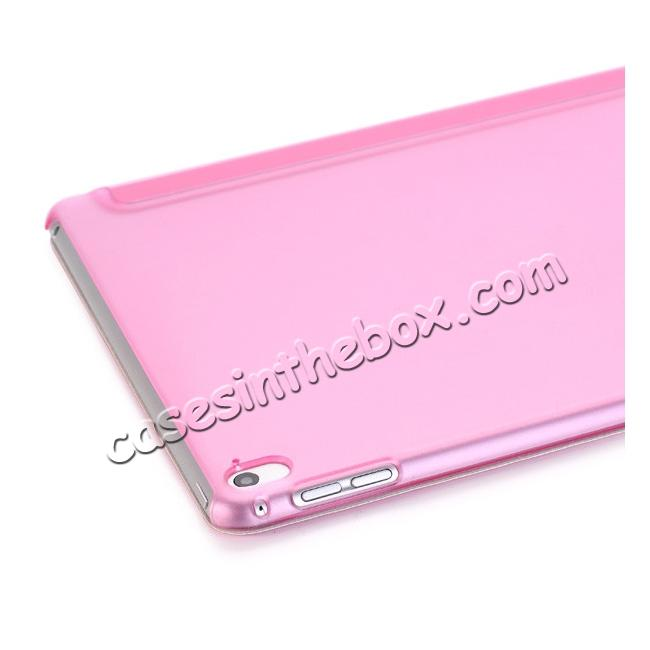 on sale Ultra-Slim Transparent Plastic And PU Leather Smart Cover for iPad Pro 9.7 inch  - Pink