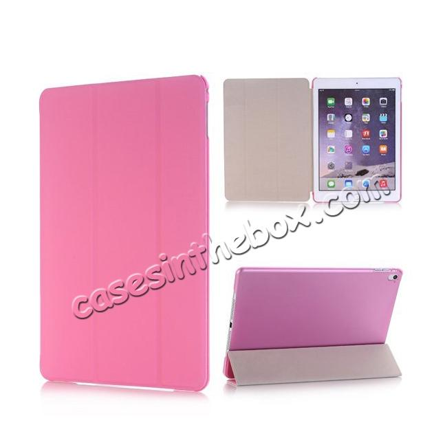 wholesale Ultra-Slim Transparent Plastic And PU Leather Smart Cover for iPad Pro 9.7 inch  - Pink