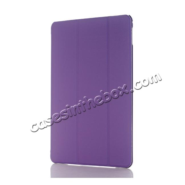 discount Ultra-Slim Transparent Plastic And PU Leather Smart Cover for iPad Pro 9.7 inch  - Purple