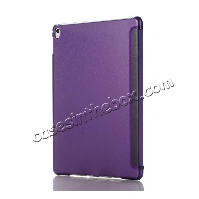 cheap Ultra-Slim Transparent Plastic And PU Leather Smart Cover for iPad Pro 9.7 inch  - Purple