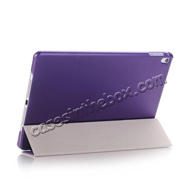 best price Ultra-Slim Transparent Plastic And PU Leather Smart Cover for iPad Pro 9.7 inch  - Purple