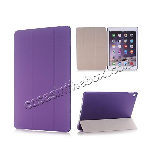wholesale Ultra-Slim Transparent Plastic And PU Leather Smart Cover for iPad Pro 9.7 inch  - Purple