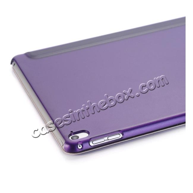 on sale Ultra-Slim Transparent Plastic And PU Leather Smart Cover for iPad Pro 9.7 inch  - Purple