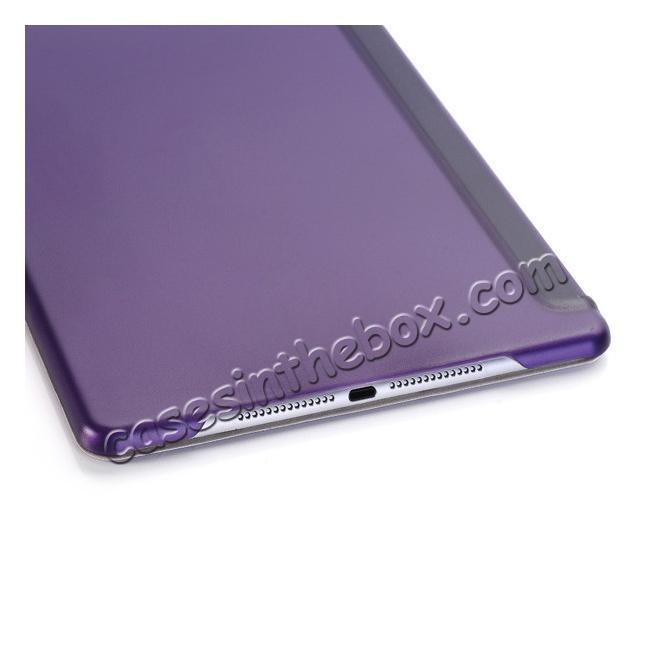 low price Ultra-Slim Transparent Plastic And PU Leather Smart Cover for iPad Pro 9.7 inch  - Purple
