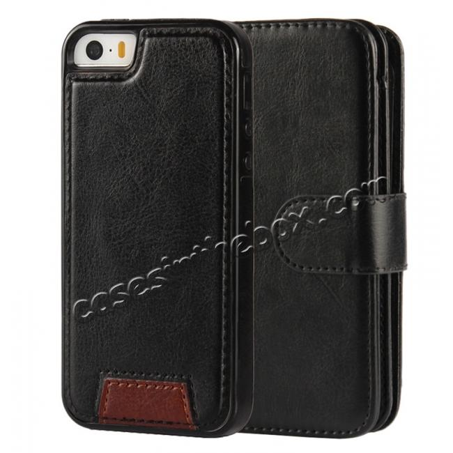 discount 2 in1 Magnet Detachable Removable Cards Cash Slots Leather Case for iPhone 5/5s/SE - Black
