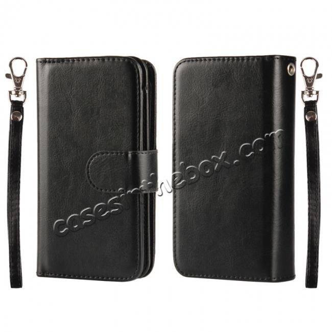 wholesale 2 in1 Magnet Detachable Removable Cards Cash Slots Leather Case for iPhone 5/5s/SE - Black
