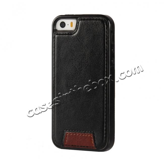 cheap 2 in1 Magnet Detachable Removable Cards Cash Slots Leather Case for iPhone 5/5s/SE - Black