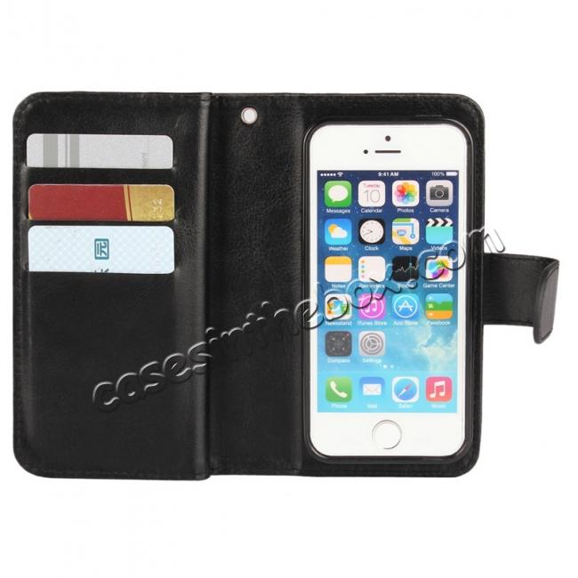 top quality 2 in1 Magnet Detachable Removable Cards Cash Slots Leather Case for iPhone 5/5s/SE - Black