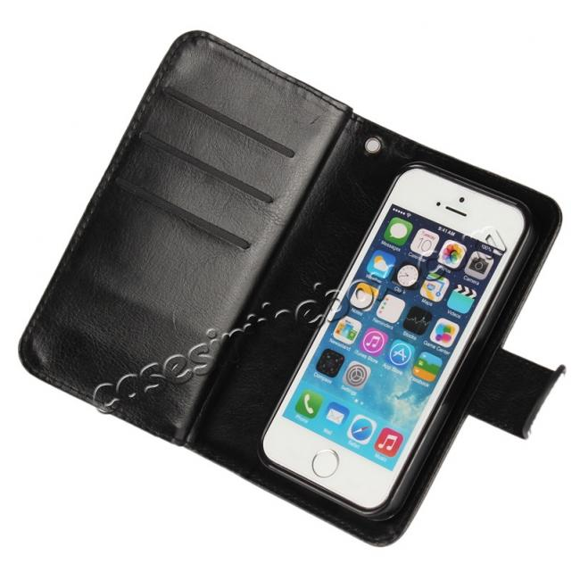 on sale 2 in1 Magnet Detachable Removable Cards Cash Slots Leather Case for iPhone 5/5s/SE - Black