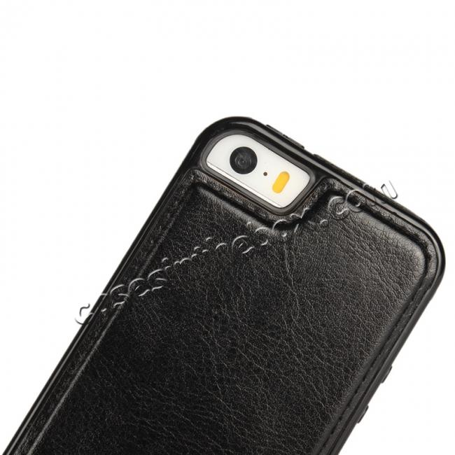 low price 2 in1 Magnet Detachable Removable Cards Cash Slots Leather Case for iPhone 5/5s/SE - Black