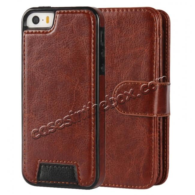 discount 2 in1 Magnet Detachable Removable Cards Cash Slots Leather Case for iPhone 5/5s/SE - Brown
