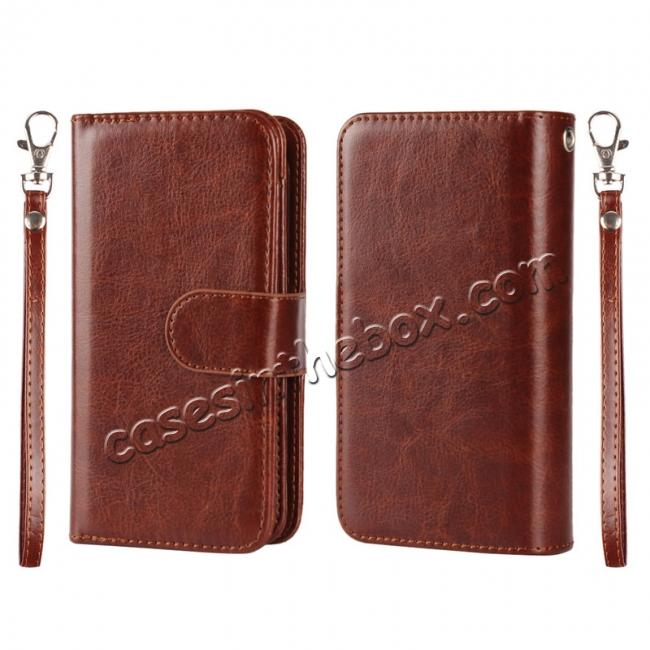 wholesale 2 in1 Magnet Detachable Removable Cards Cash Slots Leather Case for iPhone 5/5s/SE - Brown