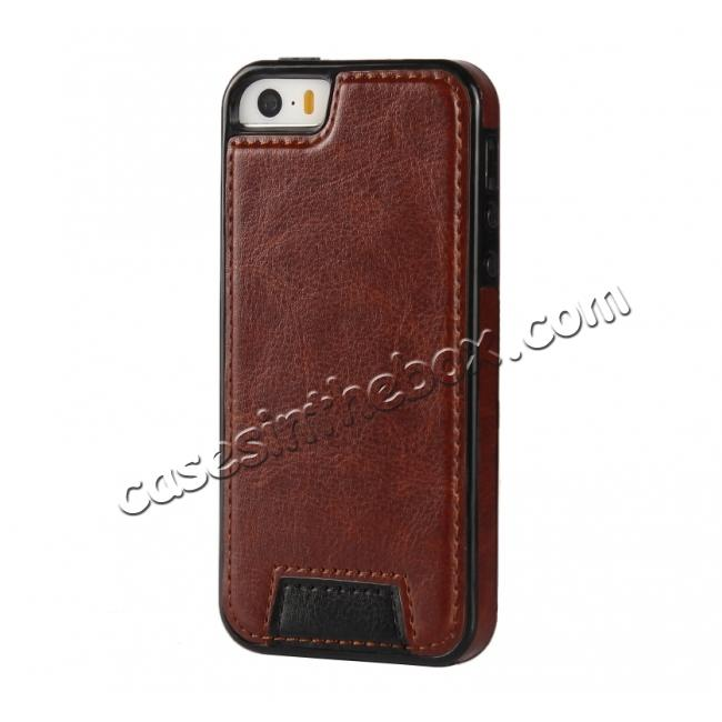 cheap 2 in1 Magnet Detachable Removable Cards Cash Slots Leather Case for iPhone 5/5s/SE - Brown