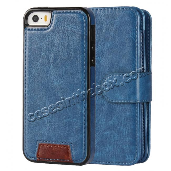 discount 2 in1 Magnet Detachable Removable Cards Cash Slots Leather Case for iPhone 5/5s/SE - Dark Blue