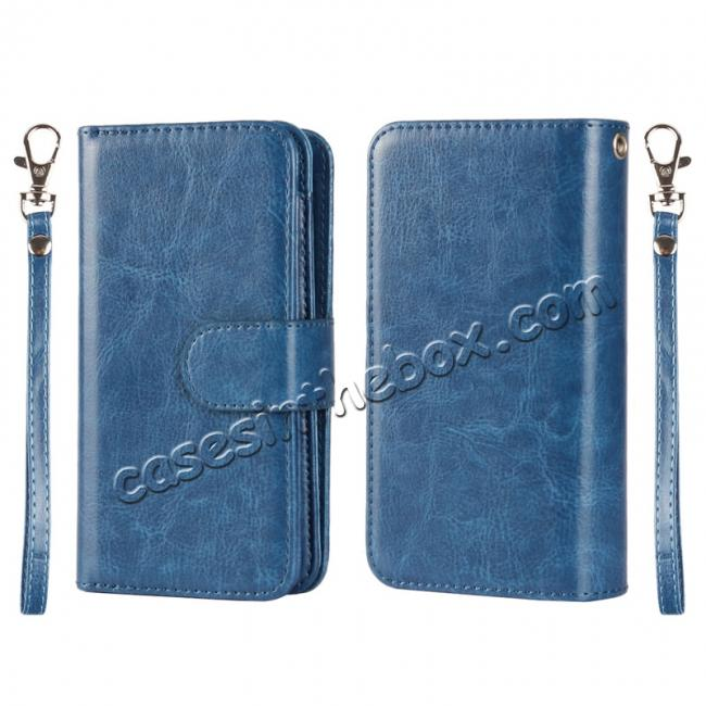 wholesale 2 in1 Magnet Detachable Removable Cards Cash Slots Leather Case for iPhone 5/5s/SE - Dark Blue
