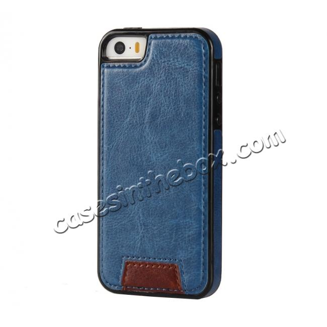 cheap 2 in1 Magnet Detachable Removable Cards Cash Slots Leather Case for iPhone 5/5s/SE - Dark Blue