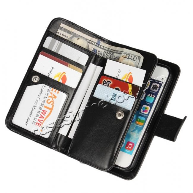 best price 2 in1 Magnet Detachable Removable Cards Cash Slots Leather Case for iPhone 5/5s/SE - Dark Blue