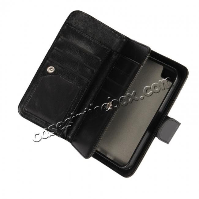 low price 2 in1 Magnet Detachable Removable Cards Cash Slots Leather Case for iPhone 5/5s/SE - Dark Blue