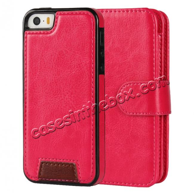 discount 2 in1 Magnet Detachable Removable Cards Cash Slots Leather Case for iPhone 5/5s/SE - Hot Pink