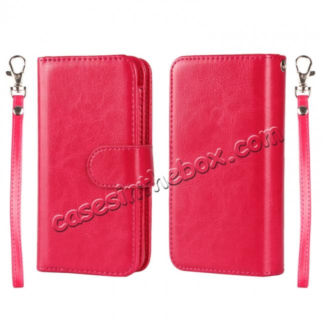 wholesale 2 in1 Magnet Detachable Removable Cards Cash Slots Leather Case for iPhone 5/5s/SE - Hot Pink
