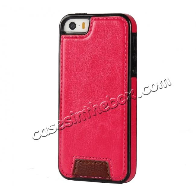 cheap 2 in1 Magnet Detachable Removable Cards Cash Slots Leather Case for iPhone 5/5s/SE - Hot Pink
